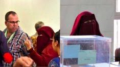 Una presidenta de mesa con Niqab increpa a los apoderados de Vox.
