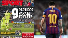La portada del Sport del 12 de abril: 9 partidos para el triplete.