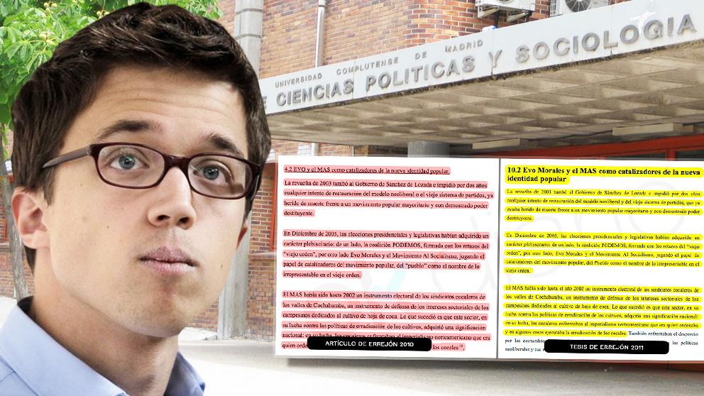Errejón fusila en su tesis doctoral distintos artículos que había publicado hasta cuatro años antes.