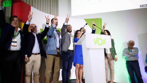 Militantes y candidatos de Vox celebran los resultados de las elecciones autonómicas, municipales y europeas 2019. Foto: EP