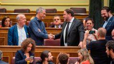 Oriol Junqueras estrecha la mano al diputado de Bildu, Oscar Matute, en el Congreso. Foto: EP