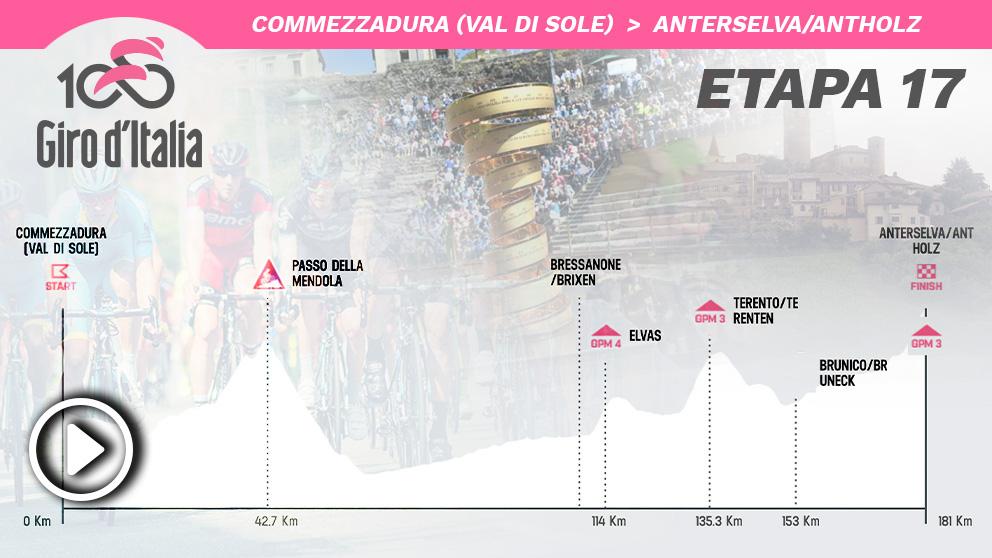 Etapa 17 del Giro de Italia, hoy miércoles 29 de mayo.