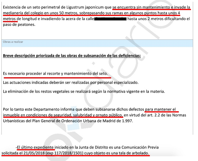Informe del Ayuntamiento de Madrid. (Clic para ampliar)