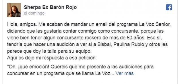 'La Voz Senior': Un ex integrante de Barón Rojo carga contra el programa de Antena 3