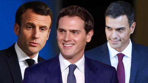 Emmanuel Macron, Albert Rivera y Pedro Sánchez.