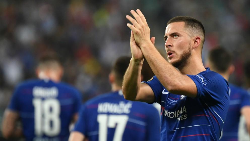 Hazard, durante la final de la Europa League. (AFP)