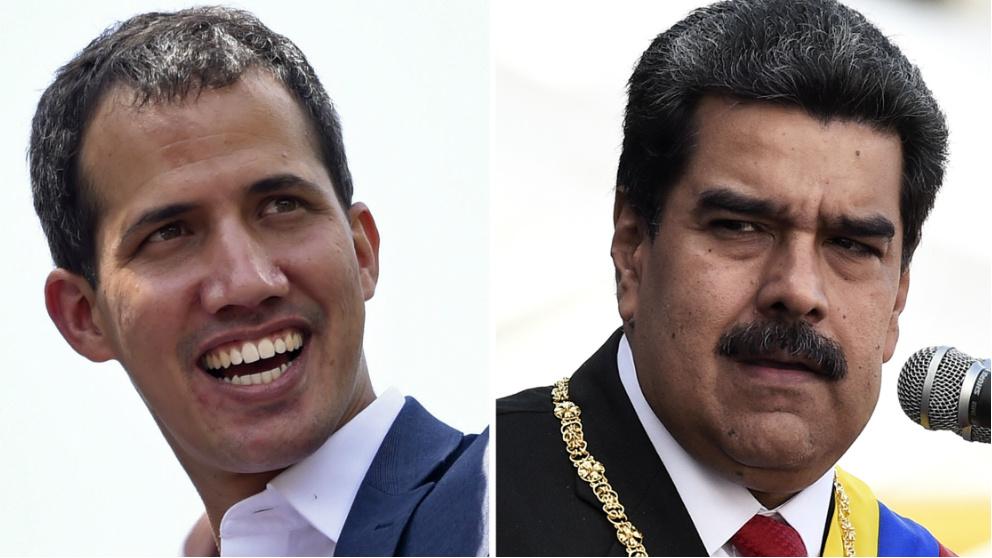 Juan Guaidó y Nicolás Maduro. Foto: AFP