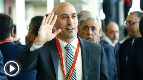 Luis Rubiales, a su llegada a la Ciudad del Fútbol de la RFEF. (EFE)