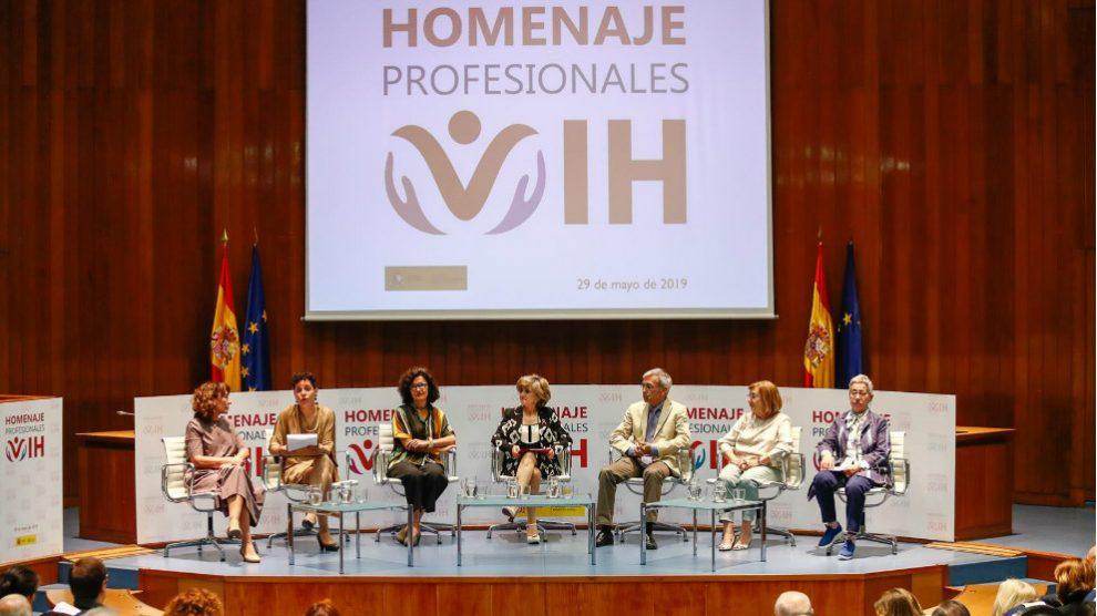 La ministra de Sanidad, María Luisa Carcedo, en un acto homenaje a los profesionales médicos que trabajan contra el SIDA (VIH), en el que se ha hablado sobre la pastilla PrEP. Foto: EP