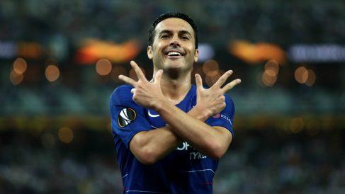 Pedro Rodríguez celebra el 2-0 ante el Arsenal. (Getty)