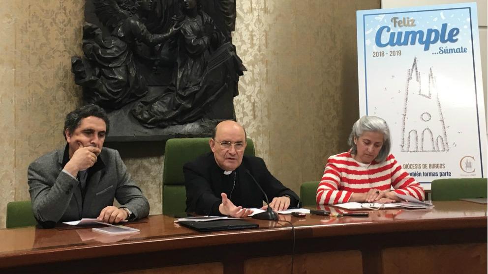 El arzobispo de Burgos, Fidel Herráez, en rueda de prensa anunciando la celebración del Año Jubilar con motivo de los 800 años de la catedral de Burgos. Foto: EP