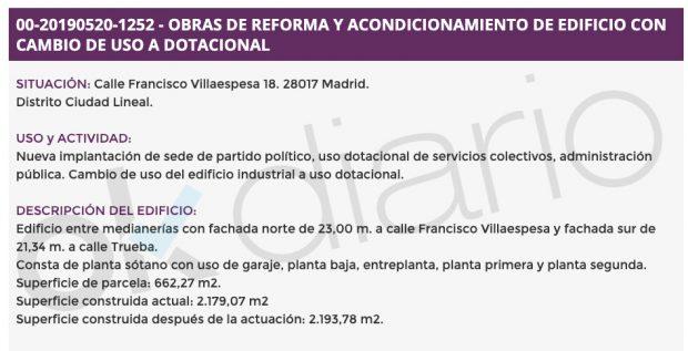 Podemos se hace con una sede de 2.179 m2 valorada en más de 2 millones y gasta 650.000 € en reformarla
