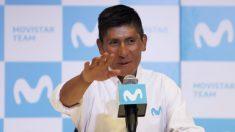 Nairo Quintana, en su comparecencia ante los medios. (AFP)