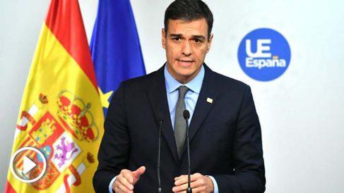 Pedro Sánchez, este domingo, desde Bruselas