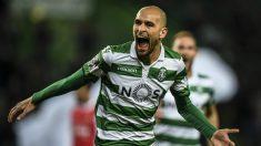 Bas Dost celebra un gol con el Sporting de Portugal (AFP)