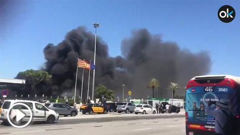 Incendio en el aeropuerto de Barcelona.
