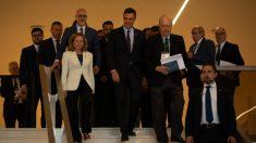 Pedro Sánchez y Nadia Calviño en un acto del Círculo de Economía en Sitges @EP