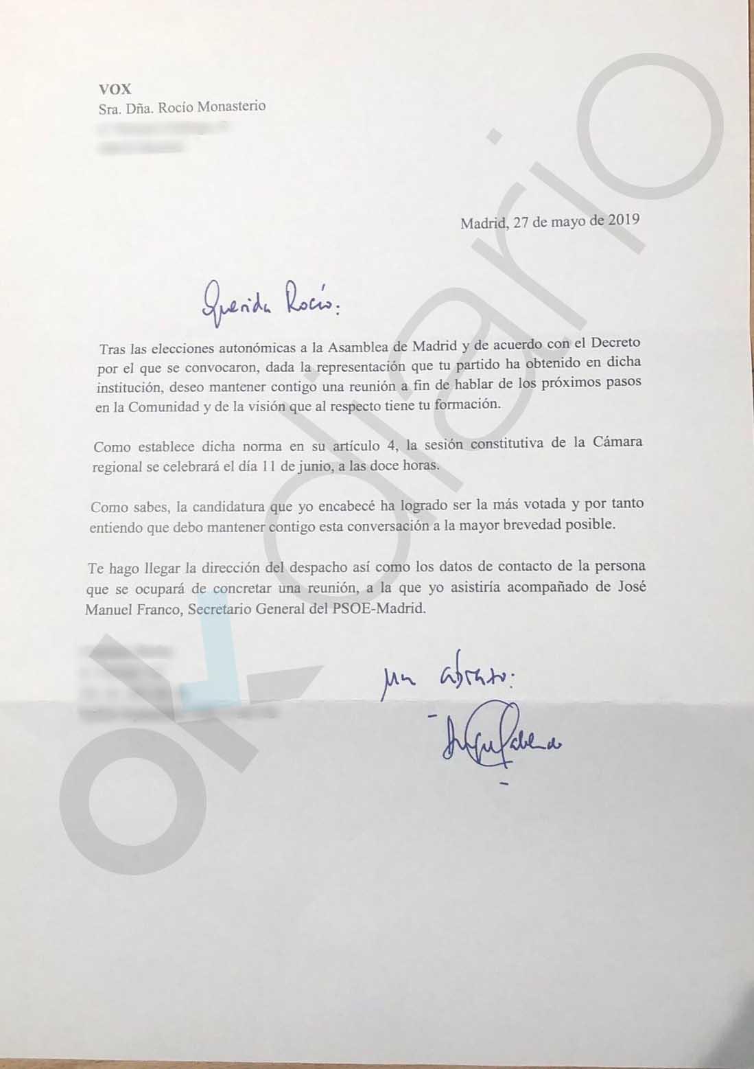 El socialista Gabilondo propone por carta a Monasterio de Vox