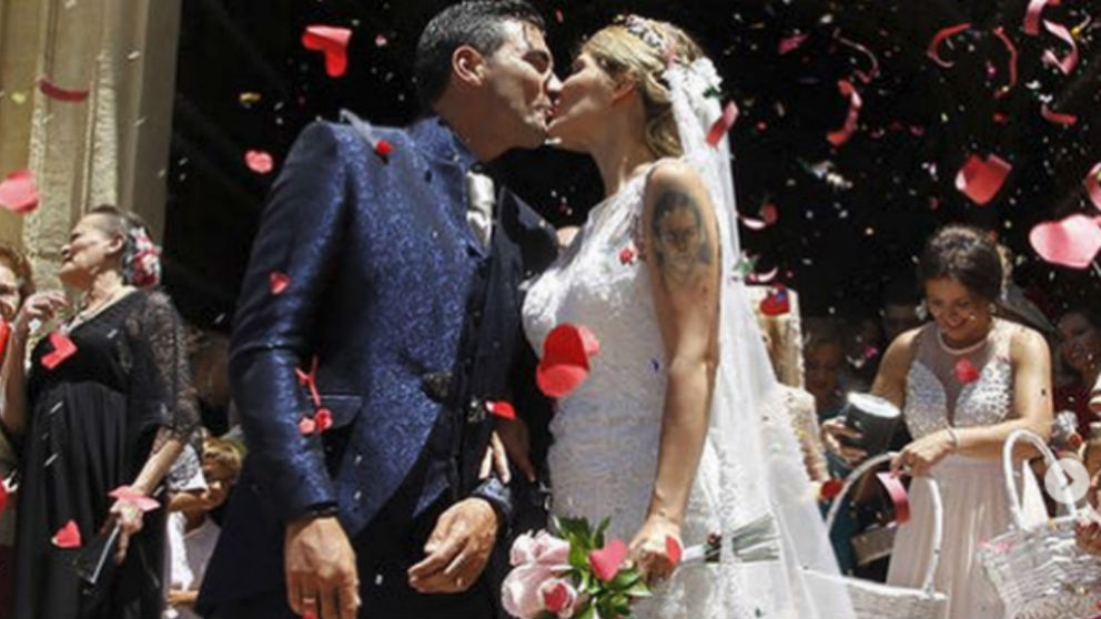 José Antonio Reyes y Noelia López, el día de su boda. (Instagram)