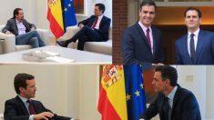 Reuniones de Sánchez con Pablo Iglesias, Albert Rivera y Albert Rivera. (Fotos. Moncloa)