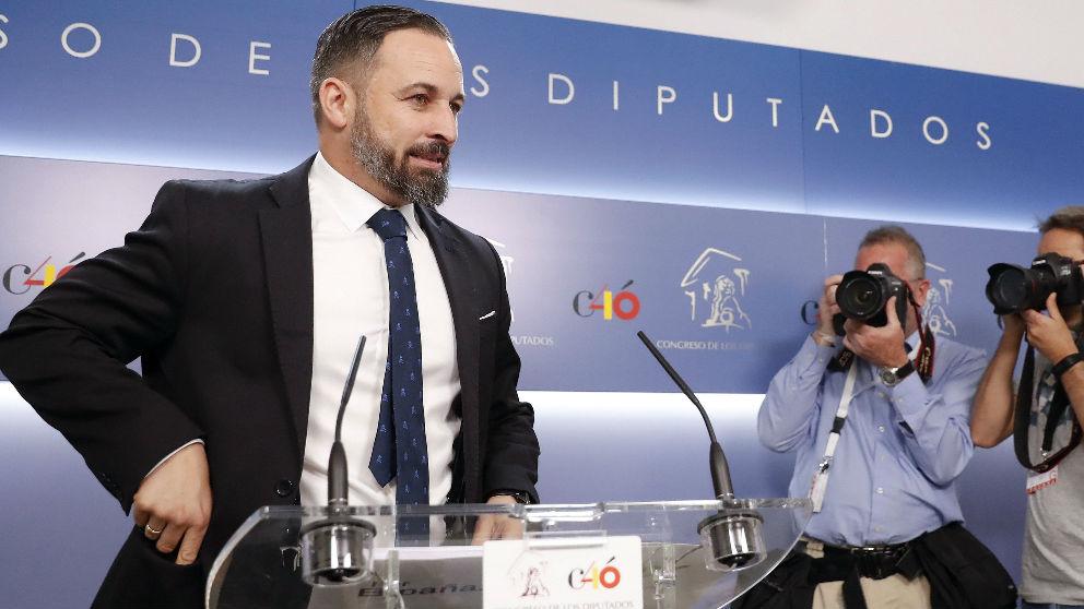 Santiago Abascal, en rueda de prensa en el Congreso de los Diputados.