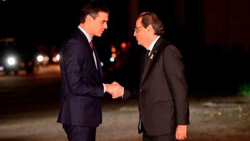 Quim Torra y Pedro Sánchez en su encuentro del Palacio de Pedralbes. @Getty