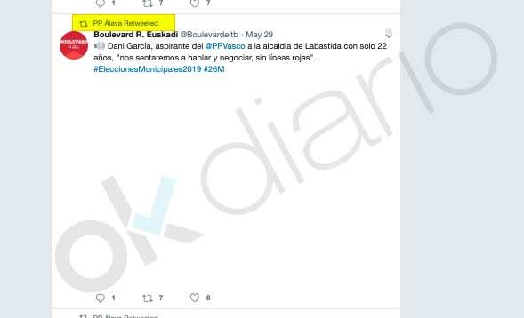 El PP de Álava compartió un tuit con la entrevista que anunciaba la reunión con Bildu en Labastida