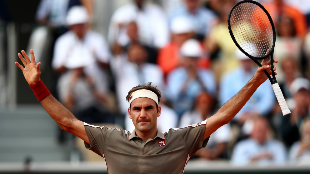 Roger Federer celebra su victoria. (Getty)
