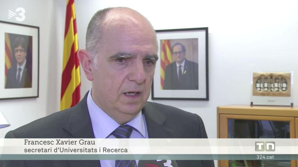Fotos de Carles Puigdemont y de Quim Torra en el despacho de Francesc Xavier Grau, secretario de Universidades e Investigación