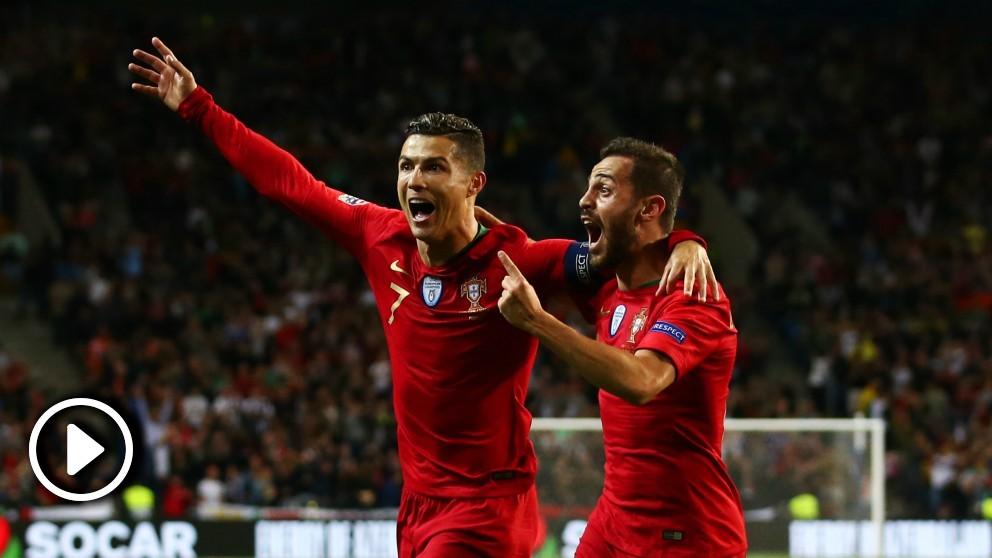 Cristiano Ronaldo celebra un gol en el Portugal – Suiza.