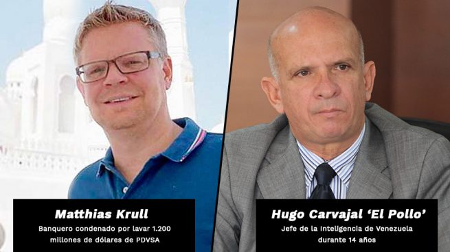 Hugo Carvajal 'El Pollo' junto al banquero venezolano Matthias Krull