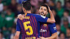 Sergio Busquets y Luis Suárez, esta temporada con el Barça. (Getty)