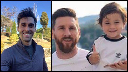 Arbeloa y Messi con su hijo mediano.