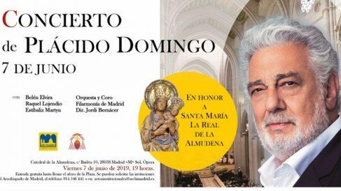 Cartel del concierto de Plácido Domingo en la Catedral de la Almudena.