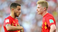 Eden Hazard y Kevin de Bruyne, durante un partido con Bélgica. (Getty)