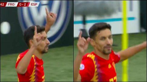 Jesús Navas dedica el gol a Reyes.