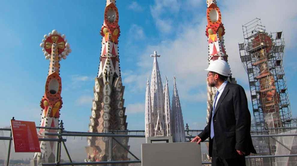 Un arquitecto supervisa las obras en la Sagrada Familia de Barcelona.Foto: EP