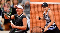 Marketa Vondrousova y Ashleigh Barty, finalistas de Roland Garros. (Getty)