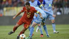 Hazard brilló con Bélgica en su primer partido como madridista. (AFP)