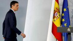 El presidente del Gobierno en funciones,Pedro Sánchez, durante una rueda de prensa en el Palacio de la Moncloa. Foto: EFE