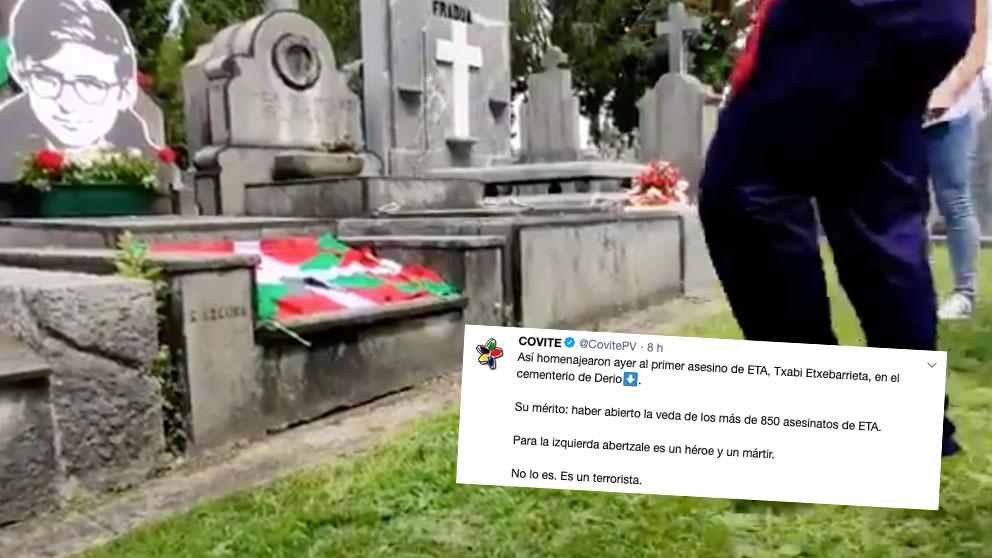 Una captura del vídeo que se grabo durante el homenaje al asesino de ETA Txabi Etxebarrieta en su tumba, abajo el tuit de Covite.