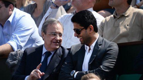 Florentino Pérez y Al Khelaifi viendo el Nadal – Mayer de Roland Garros 2014. (Getty)