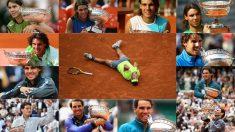 Rafa Nadal con sus doce títulos de Roland Garros.