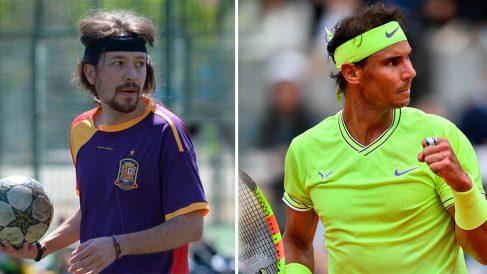 Pablo Iglesias practicando deporta y Rafael Nadal durante su último partido de Roland Garros