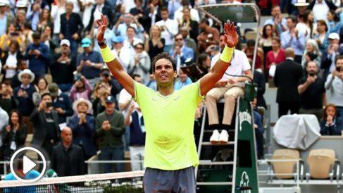 Nadal celebra su victoria en la final de Roland Garros. (Getty)