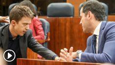 Íñigo Errejón e Ignacio Aguado en la Asamblea de Madrid. Foto: EP