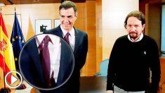 Pedro Sánchez se ha puesto corbata morada para recibir a Pablo Iglesias