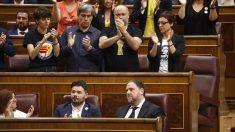 Diputados independentistas en el Congreso durante la sesión constitutiva. Foto: EP