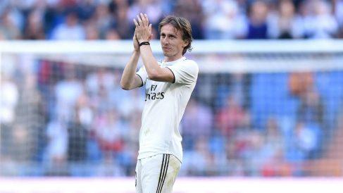 Luka Modric, durante un partido del Real Madrid (Getty).