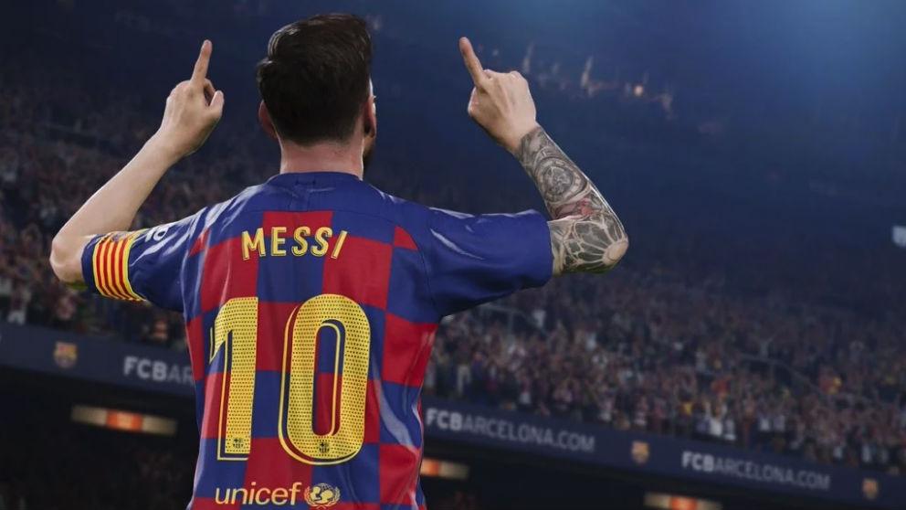 Leo Messi celebra un gol en el Pro Evolution Soccer.